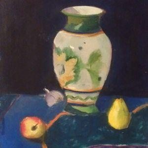"Glezna ""Klusā daba. Vāze un augļi. 2014"""