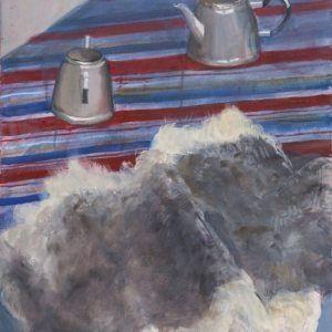 "Glezna ""Klusā daba ar kažokādu. 2014"""