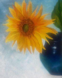 """Glezna """"Saulespuķe vāzē"""""""