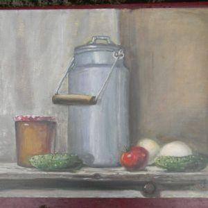 """Glezna """"Klusā daba ar tomātu"""""""
