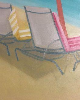 """Glezna """"Persiku pludmales lietussargs"""""""